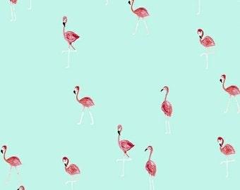 FLAMINGOS pink on aqua blue cotton print by the yard Windham Fabric 42278-5 bird tropical