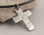 Small Hammered Christian Sterling Silver Cross Jewelry for Children, Men or Women