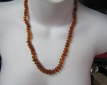 "Natural Graduated Baltic Amber Bead Necklace, Honey Amber Nugget 23"" Necklace"
