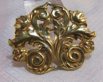 Rare Mariam Haskell Art Deco/Art Nouveau Flowers and Ferns Gold Plated Stamped Metal Brooch
