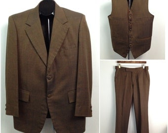 Vintage 1960s Mod Bespoke Brown Sharkskin 2 Button 3 Piece Suit Slim Pants Vest / Men's Small / 60s Suedehead Cloth Covered Buttons