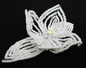 White Pearl Flower Floral Bloom French Beaded Fascinator - Pearl Collection