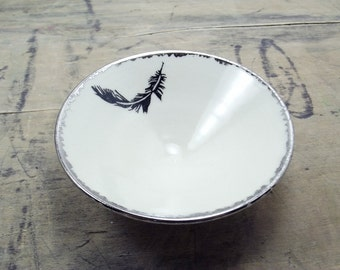 Black Feather Porcelain Small Bowl, Jewelry Dish, Ring Dish, Dipping Bowl