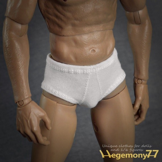 1/6th scale white briefs men's underwear for regular size action figures and male fashion dolls
