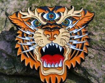 Third Eye Tiger spirit animal pin - music festivals jerry garcia grateful dead CO phish disco biscuits lotus Bassnectar scamp lsd
