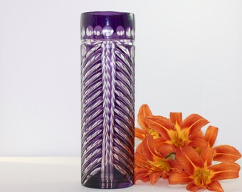 Tall Vase Amethyst Color Bohemian Cut to Clear