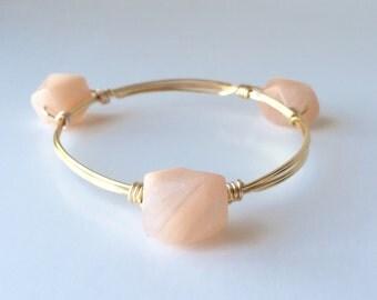 Peach Stone Wire Wrapped Bangle Bracelet