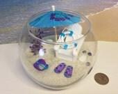 Purple Blue Miniature Beach in a Fishbowl / Tropical Fairy Garden / Desktop Terrarium / Summer Zen Garden / Dollscale Office Desk Decor Gift
