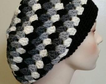 Wool Striped Crochet Slouchy Hat Dreadlock Tam - Black/Grey