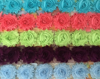 5 Yards Shabby Flowers - Blue topaz , Salmon , Baby green , Amethyst and Light blue
