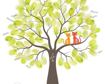 Fingerprint Wedding Tree Guest Book Poster - Engagement Tree Cats Guestbook Alternative Print - 11x14 inches - 40-70 Thumbprints