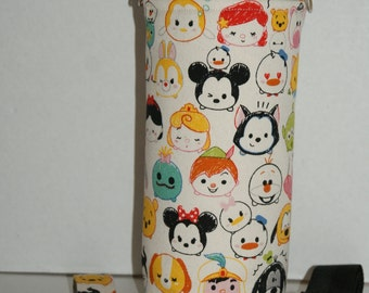 "Insulated Water Bottle Holder for 32oz Hydro Flask / Thermos with Interchangeble Handle/Strap Made with ""Tsum Tsum - All Stars"""