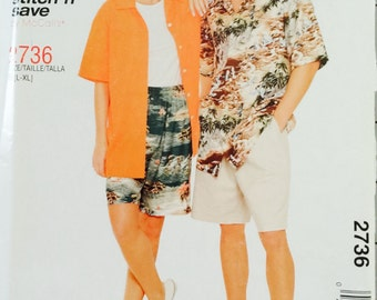 Stitch N Save 2736, Size Large, X Large, Misses', Men's and Teen Boys' Shirt and Shorts Pattern, UNCUT, Unisex, 2000, Casual Wear, McCall's