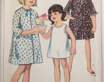 Simplicity 6855, Size 10, Girls' Robe and Slip Pattern, UNCUT, Button Front Robe, Vintage 1966, Retro, Bath Robe, Cover Up, Raglan  Sleeves