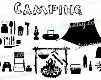 Camping SVG - Camping Equipment - Vector File - Digital Cutting File - Cricut SVG File - Instant Download - Svg, Dxf, Jpg, Eps, Png