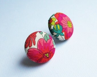 Floral fabric covered button earrings in red, pink, white and green