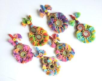6 pc Large Mirrored Tassels, Colorful Banjara Gypsy Tassels, Indian Kutchi Tassels, Rajasthan India, Decorative Jewelry Making Purse Charm