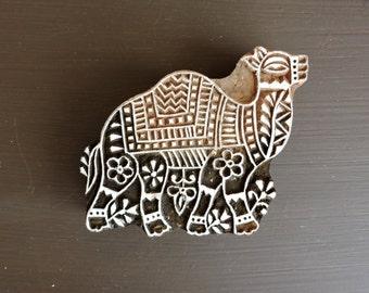 Hand Carved Wood Camel Stamp: Clay Stamp, Indian Printing Block, Wooden Ceramic Textile Pottery Stamp, India Decor