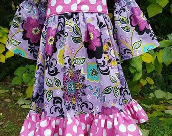 Peasant dress/top and ruffle pants/boutique outfit/custom clothing/ girls clothing