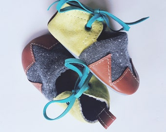 Toddler goatskin leather & cotton jogging fleece house slipper/ outdoor soft sole shoes with non-slip sole