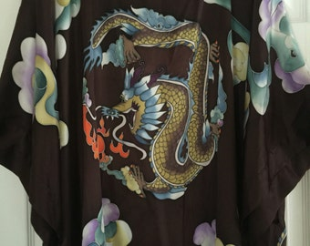 Dragon Hand Painted Silk Kimono Robe Vintage Dressing Gown Lingerie