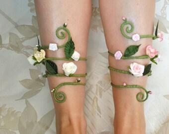 white flower and vine leg cuff ankle bracelet leg circlet whimsical fairy woodland accessory