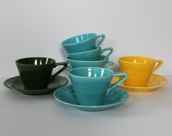 Homer Lauglin Harlequin Fiesta Ware in Turquoise, Canary and Hunter