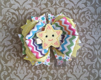 Tulle Boutique Hairbow with Felt Starfish Center - Ocean Animal Hair Clip - Star Nature Bow Hand Sewn