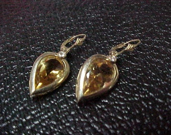 Vintage Natural Citrine Solitaire Earrings, w/Small Diamond, 6CTW, 15MMx8MM, 14K Yellow Gold