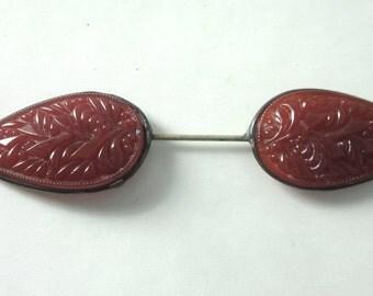 Vintage Antique JABOT Hat or Collar Pin BROOCH Molded Poured GLASS