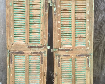 vintage shutters,old mediterranean Shutter windows,chippy acqua blue green, Antique Wooden Architectural,rustic old Wall Decor piece