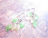 Lime Green and Canary Yellow Leaf Silver Chain Chandelier Earrings
