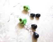 Green Skull Black Teardrop Earrings TCJG