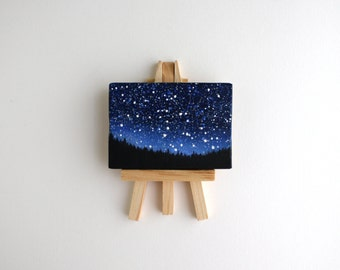 Miniature Night Sky Painting with Easel