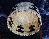 Native American Basket TO Tohono O'odham Cloud and Lightning Motif Geometric Design Hand Woven Southwest Living USA