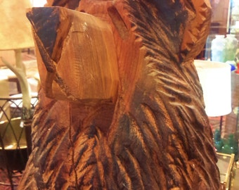 Carved Wood Bear Statue 3ft Rustic Home Decor Mountain Lodge Cottage Cabin Retreat Sculpture