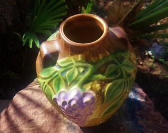Roseville Pottery Wisteria Lavender Vase Original Sticker Shape 630-6