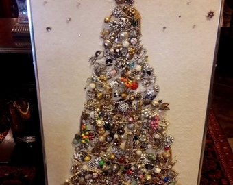 ON SALE JEWELED Christmas Tree Large Scale Tree Made of Vintage Jewelry Pieces Bead Garland Hand Crafted Flashy Shimmering Unique Holiday De