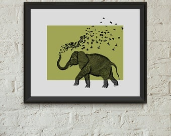 Elephant Birds Print Wall Art Illustration Poster Hand Drawn Giclee Home Dorm Room Office Decor Gift