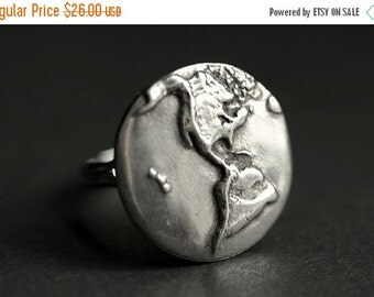 VALENTINE SALE Earth Ring. World Ring. Pewter Button Ring. Planet Earth Ring. Adjustable Ring. Silver RIng. Handmade Ring. Pewter Ring. Hand
