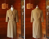 SALE / vintage 1950s suit / 50s tan wool Zelinka Matlick skirt suit / size medium