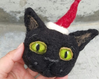 RESERVED Cat ornament, Christmas decor, needle felted, unbreakable bauble, wool ornament, black kitty, pet lover gift, holiday decoration