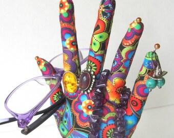 Laurel Burch Fabric Hand Jewelry Organizer POPULAR Style HAND-Stand
