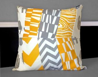 "Pillow Covers - Yellow White Grey Herringbone Multi-print 20"" x 20"", Ready to Ship"