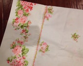 Single pillowcase spring bright pink roses soft with eyelet trim