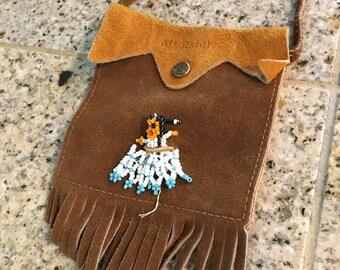 Souvenir fringe purse leather vintage mt rainier bead on front
