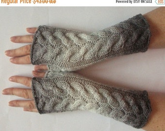 Gray Fingerless Gloves Light Gray Long Mittens Arm Warmers Acrylic Wool