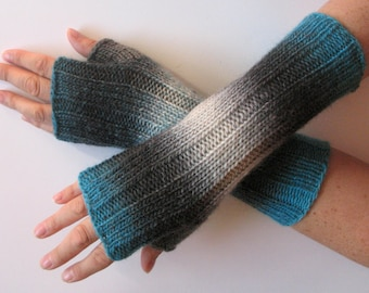Fingerless Gloves Blue Gray Black wrist warmers