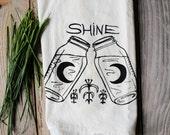 Flour Sack Tea Towel - Moonshine - Hand Printed Original illustration