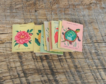Vintage Ohio Blue Tip Match Covers Only Fancy Match Covers 1950s Set of 24 Flowers Birds Animals Fish